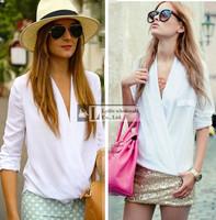 2015 casual body  women's blouses tops solid white/yellow za deep v-neck blouse top female  plus size  women blusas femininas