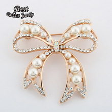 Popular Cute Big Bow Down Collar Flower Brooch Full Pearls and Created Diamond Exquisite pearl inlay Girl Accessories XZ052(China (Mainland))