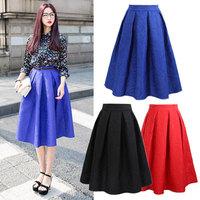 Women's Midi Skirt Printed New 2015 Spring Summer  Women Clothing Vintage High Waist Pleated Knee-Length Skirt 14105