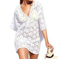 2014 Newest Beach Women Dress White Lace Dress Hollow Out Dress Casual Dress Half Sleeve V-Neck Dress Hot Sale