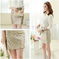 2014 New Fashion Korean Style Women's Mini Gold Sequined Skirt  E6442-gold
