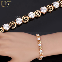 Unique Design Bracelet 2014 New Trendy 18K Real Gold Plated Clear Luxury AAA Zircon Jewelry 18 CM Chain Bracelets Wholesale H507