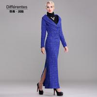 Twods 2014 new autumn winter x long dress lurex blue v-neck turn-down collar sexy high-end quality warm dress full sleeves