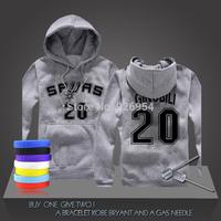 New Manu Ginobili #20 GDP Basketball Super Star Spurs Hoodies Clothing Cotton Sweatshirt  Men HoodiesTraining Long-sleeved Tops