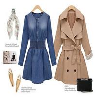 2014 Hot Spring Autumn European Long Sleeve Fashion Denim Dress Jeans Mini Dress Slim Waist Casual One-piece Dress Tops CX656807