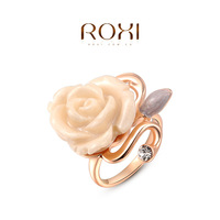 ROXI new arrival  rose flower rings for women 18k gold and white gold plated created crystal (2 colors 3 sizes) freeshipping