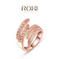 ROXI new arrival feather rings for women rose gold plated wedding rings created crystal 3sizes freeshipping