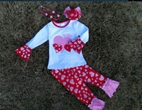 baby girls top pant sets heart top and pant outfits valentines boutique outfits with matching hair bows and chunky necklace set