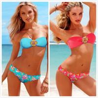 Women bikini swimsuit diamond sexy 2pcs biquini Bandeau Top and Thong Bottom