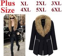2014 Fashion European Plus Size Winter Woolen Coat Fox Fur Collar Long Overcoat Outerwear Free Shipping