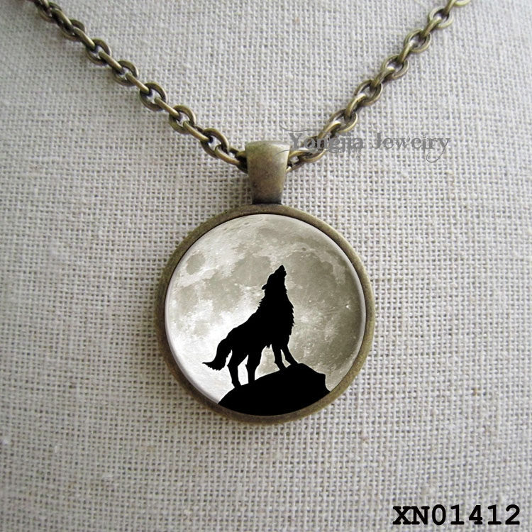 Wolf moon Necklace Glass Tile Jewelry Animal Jewelry Moon Jewelry Wolf Jewelry