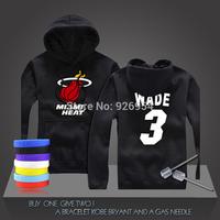 New Dwyane  Wade #3  Basketball Super Star Heat Hoodies Clothing Cotton Sweatshirt  Men HoodiesTraining Long-sleeved Tops