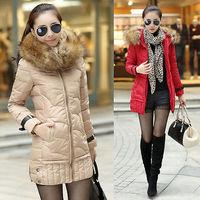 2014  New Arrival Women  Slim Winter Warm Thicken Hoodie Jacket Down Long Coat + Overcoat