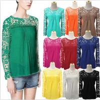 Plus Size S-5XL 2014 Fashion New Women Lace Sleeve Chiffion Lace Crochet Blouses Emboriey Gorgeous Long Sleeve Shirts
