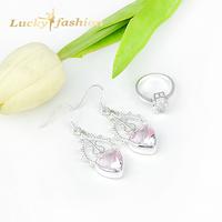 New 2014 Best Friends Gift Elegant Jewelry Sets Romantic Pink Topaz Crystal Silver Earrings Rings Set