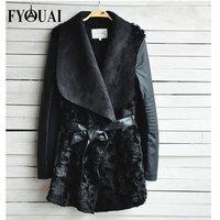 FYOUAI Hot Sale Winter Women Fur Coat  PU Leather Jacket FashionEuropean Style Splice Slim Long sleeve Fur Coat For Women