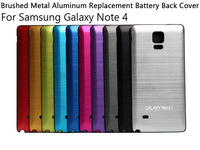 Free Shipping! Brushed Metal Aluminum Replacement Battery Back Cover with Black Frame For Samsung Galaxy Note 4 ( Black Frame )