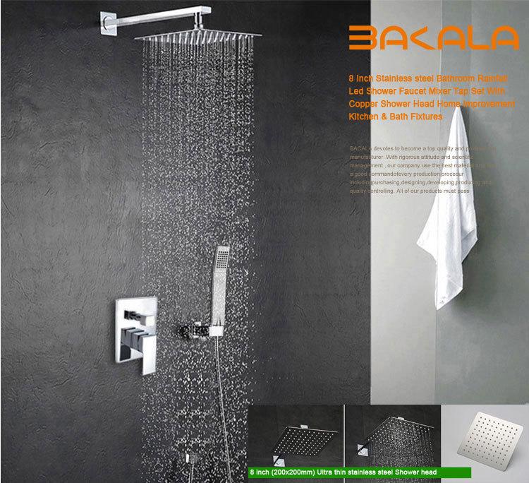 BAKALA Luxury 8-10-12-16 inch Stainless Steel Bathroom rain shower faucets head shower set with hand shower(China (Mainland))