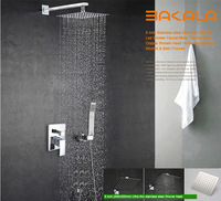 BAKALA Luxury 8-10-12 inch Stainless Steel Bathroom rain  shower faucets head shower set with hand shower