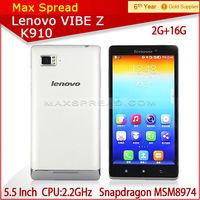 "Original Lenovo Cell Phones Smartphone Qualcomm Snapdragon MSM8974 Quad Core Mobile Phone 5.5"" Android 1920*1080 3G WCDMA"