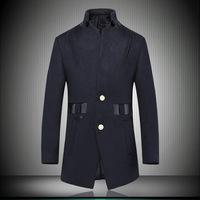2014 Winter New Fashion Men's Wool Overcoat Plus Size Xxxl High Quality Balck Male Cashmere Coat Patchwork Business Topcoat