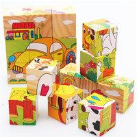 New Funny Cute Wooden Animals 3D Blocks Jigsaw Early Educational Baby Developmental Toy #61118
