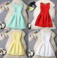 2015 Elegant Women Summer Sleeveless Dress Evening Party Solid Patchwork Ball Gown Tank vestidos Women Dress