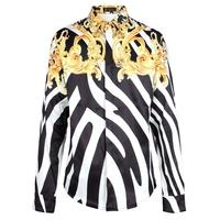New Fashion Europe Famous Brand Catwalks Runway Show 3D Print Men Shirt Royal Gold Flower Zebra Stripes Long Sleeve Men's Tops