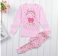 2015 New Peppa pig Pajamas Baby Wear Girls Children's Cartoon hello kitty Pyjamas Suits Kids Sleepwears Home Clothing