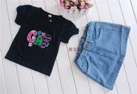 269 Free shipment fashion children clothing set  t shirt + jeans skirt moq 1set