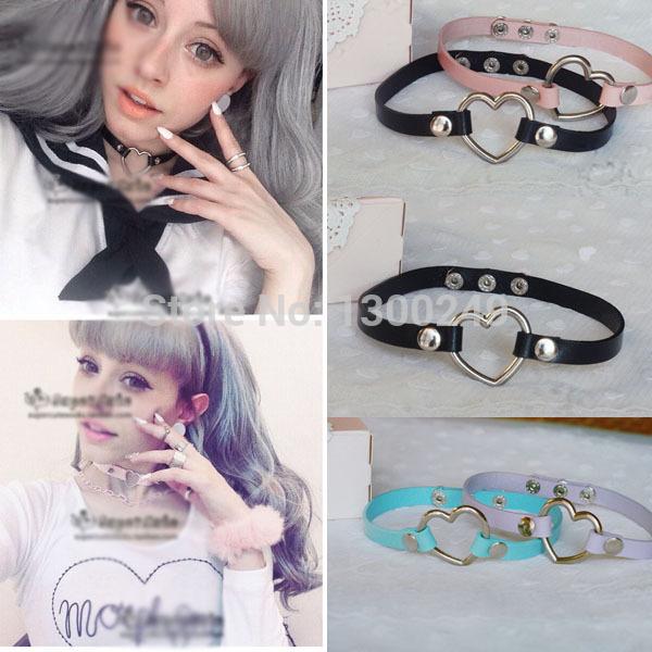 2015 Fashion Hot Dark Sweet heart stud Necklaces Harajuku Collar Faux leather Choker 100%handmade punk Necklace free shipping(China (Mainland))