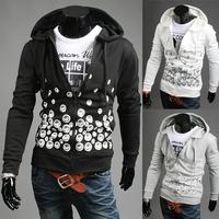 2014 New men sweatshirt black plus size pullover star pattern stripes hoodies Beckham style street sportswear M-XXL PW24