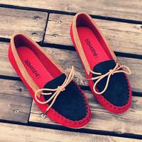 2015 Moccasins female nubuck leather flat heel single shoes fashion flat driving shoes