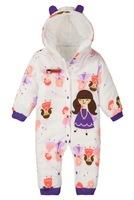 New Born Baby Girl Winter Polar Fleece Outfits Infant Hooded Sleepwear, 5 Sizes/lot - JBFR20/JBFR21/JBFR22/JBFR23/JBFR24/JBFR25