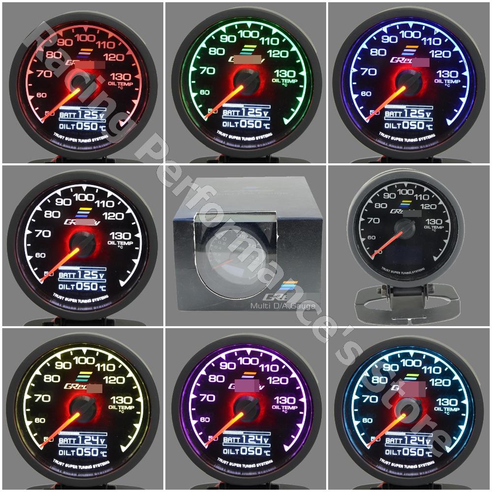 Gre ** y calibre Temp Óleo Medidor 7 Color Light Display LCD com tensão temperatura do óleo do calibre 60 milímetros 2,5 polegadas com sensor de Corrida de Medidor(China (Mainland))