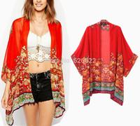 2014 NEW Vintage Women's Flowers Print Red Kimono Cardigan Shirts No button Batwing Sleeve Cardigan Irregular Hem Blouses Tops