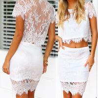 2014 Vestido De Festa Conjunto Short Saia E Blusa Top Cropped Com Renda Floral New Arrival Women Lace Two In One Twinset Dress