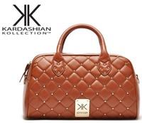 2014 New fashion high quality handbags Kardashian kk plaid rivet shoulder bag handbag messenger bag women's handbag work bags