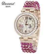 New Butterfly jewelry women dress rhinestone watches fashion casual quartz watch wristwatches Luxury brand Davena 60513 relogio