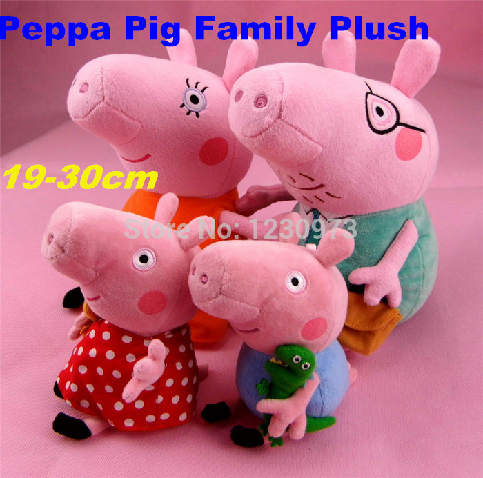 4pcs Lovely Peppa Pig Family Stuffed Toys Set Plush Doll 30CM DADDY MUMMY 19CM Peppa GEORGE Chiristmas Gift Children Kids Toys(China (Mainland))