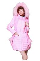 Winter 2014 High-end Rabbit Hair Knitted Cap + Raccoon Collars  Warm Down Jacket 141013YB01