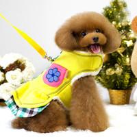 Dog Harness+Leash Lotus Leaf Skirt Plaid Jacket Double-sided Plush Puppy Cat Coat Pet Clothes S-XXL 2Colors Fashion