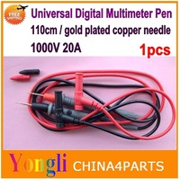 Free shipping 1set Universal 1000v 20A 110cm special ultra thin tip extra-fine gold-plated copper needle Multimeter pen