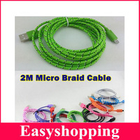 10Pcs/Lot 6FT/2M 8Pin Micro Braided Nylon USB Date Sync Charging Charger Cable Cords For Samsung HTC Blackberry