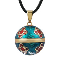 N14NB225 Vintage Belly Bola with sparkles pendant Pregnancy Wax Necklace Angel Caller