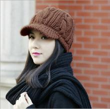 Women's Winter Hat With Visor A New Twist Knitted Cap Knitting Wool Cap Winter Knit Visor Beanie Hat Cap F-021(China (Mainland))