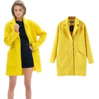 New Fashion 2014 Women's Winter Elegant Warm Lemon Yellow Big Pockets Trench Casual Slim Wool Desigual Coats Outerwear ps0620