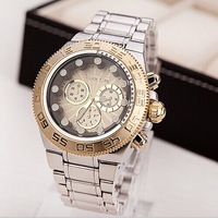 Golden New Clock gold Fashion Men watch Stainless Steel Quartz watches Wrist Watch Wholesale ML0608