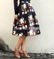 New 2014 autumn winter women girls face rose patterns print a-line casual skirt knee length cute lolita style brand skirts