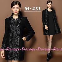 M-XXXXL Brand Ladies Plus Size Floral PU Leather Patchwork Winter Woolen Coats Women Long Sleeve Thick Wool Outerwear 8949
